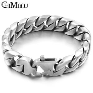 Edelstahl-Herren-Armband-Panzerarmband-Armkette-XL-Gross-Silber-Matt