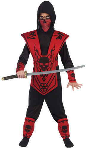 Skull Lord Ninja Boys Fancy Dress Samuari Warrior Kids Halloween Costume Outfit
