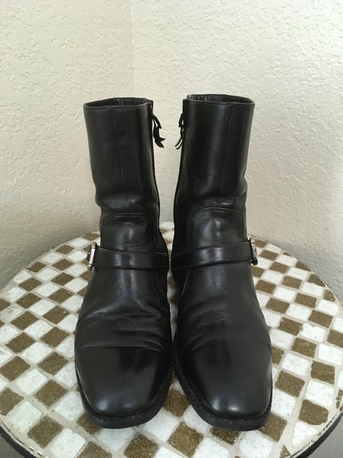 contatore genuino VINTAGE MADE IN FRANCE nero LEATHER ZIP UP BEATLE stivali stivali stivali 8 M  qualità autentica