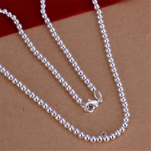 Wholesale 925 Silver Fashion femmes charms 4 m Perle Chaîne Collier Mariage Bijoux