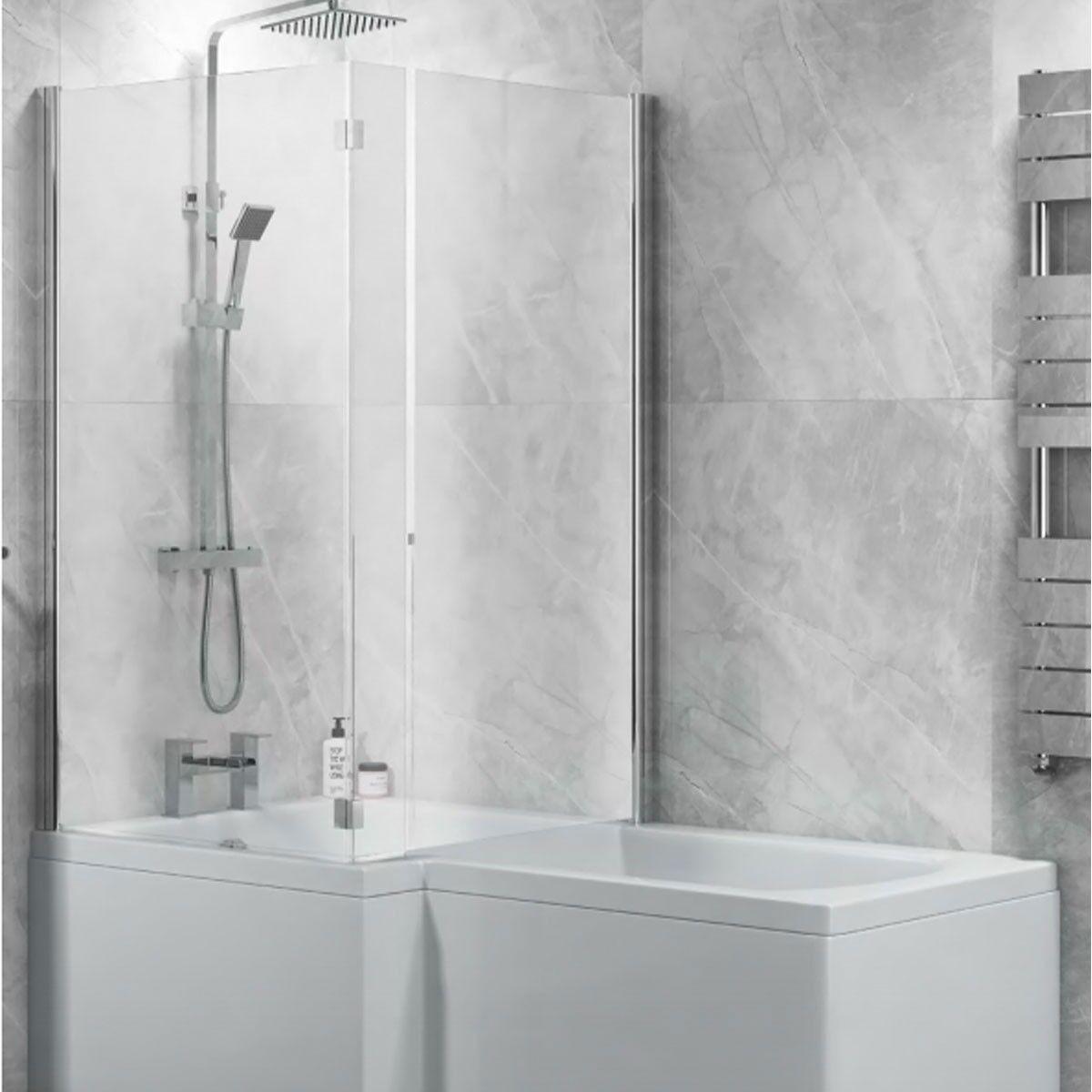L Shape Bath Screen Full Enclosure Hinged Exclusive 6mm
