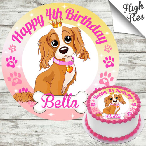 PUPPY DOG CROWN ROUND EDIBLE BIRTHDAY CAKE TOPPER DECORATION PERSONALISED