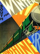 ART PRINT POSTER TRAVEL SOUTH WINTER SUNSHINE TRAIN RAIL ENGINE SUN UK NOFL1370