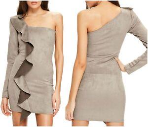42dec10cffa MISSGUIDED SEXY ONE SHOULDER FRILL DOWN SUEDE DRESS Sz 4 UK 8 NEW   eBay