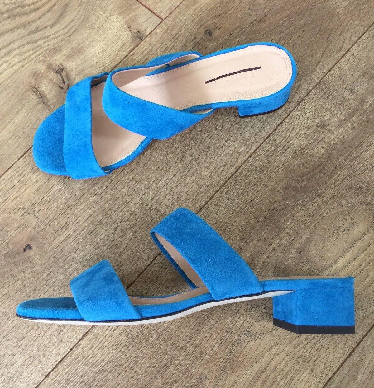 Jcrew  128 diapositivas de gamuza doble correa sandalia sandalia sandalia Tacones Altos Talla 7 Cabana Azul G0970 Nuevo  más vendido