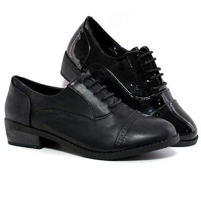 Señoras para mujer Oficina Mid bloque talón formal Vintage Zapato Bajo De Cuero Smart Zapatos Trabajo Talla