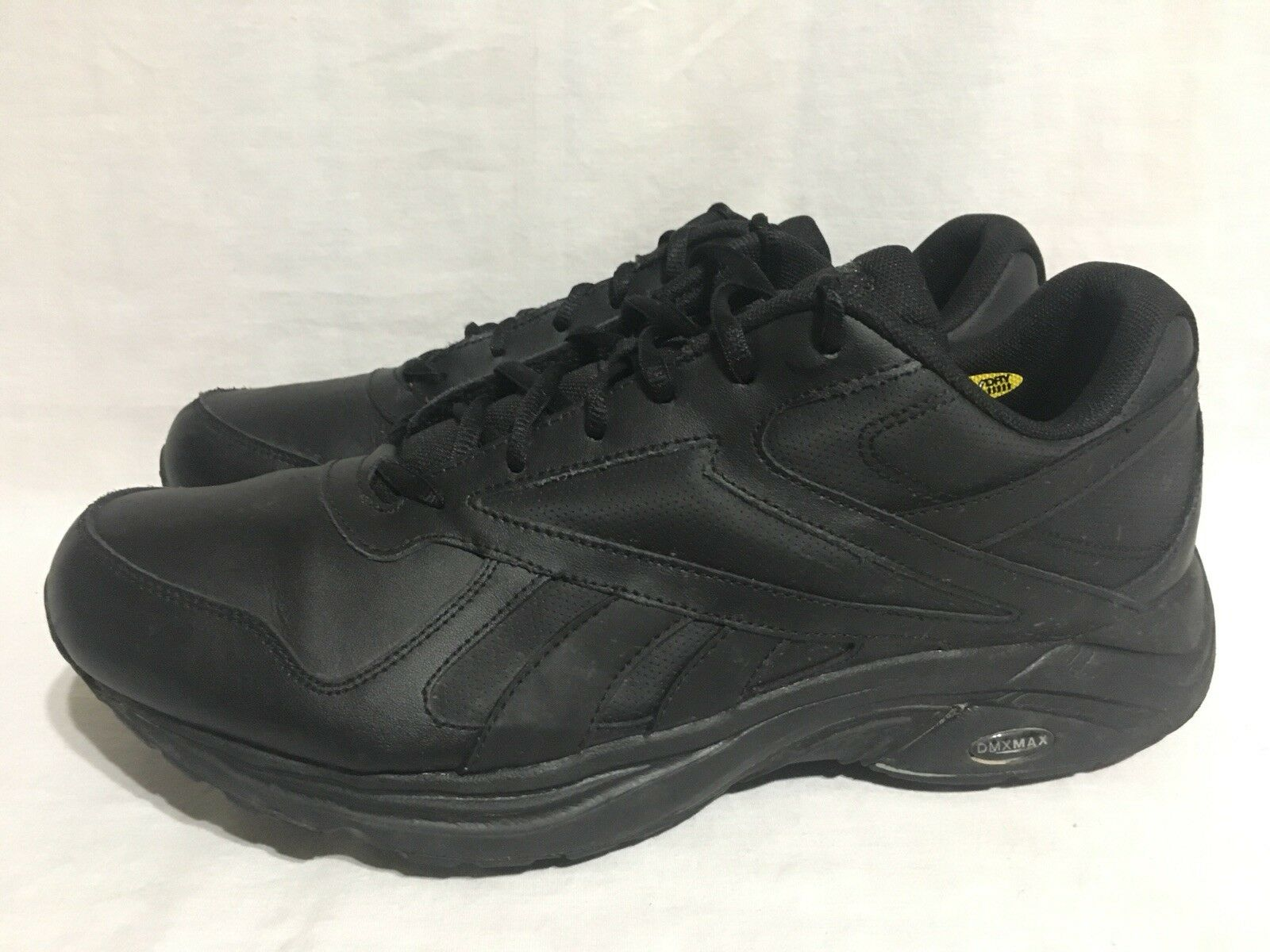 Reebok DMXMAX Black Leather Walking Shoes Athletic Casual 3N-5 Mens 13 wide 4E