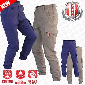 Mens-Cargo-Pants-Work-Trousers-Elastic-Banded-Ankle-Cuff-Cotton-Tapered-UPF-50