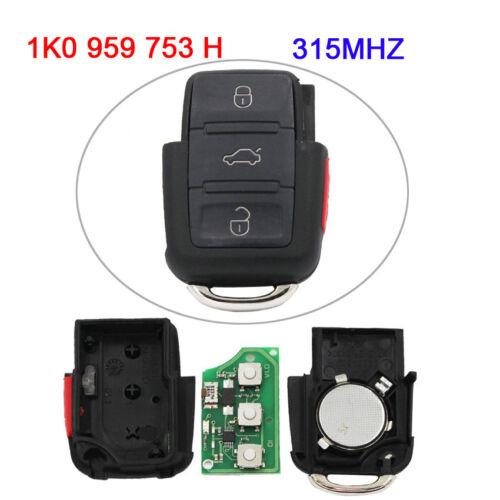 3+1//4 Button Remote Key Part Transmitter 1K0 959 753 H 315Mhz for VW Volkswagen