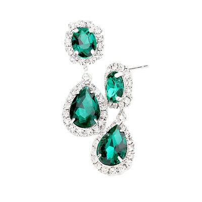 Green gold tone diamante earrings sparkly bling prom party bridal dangly 0385