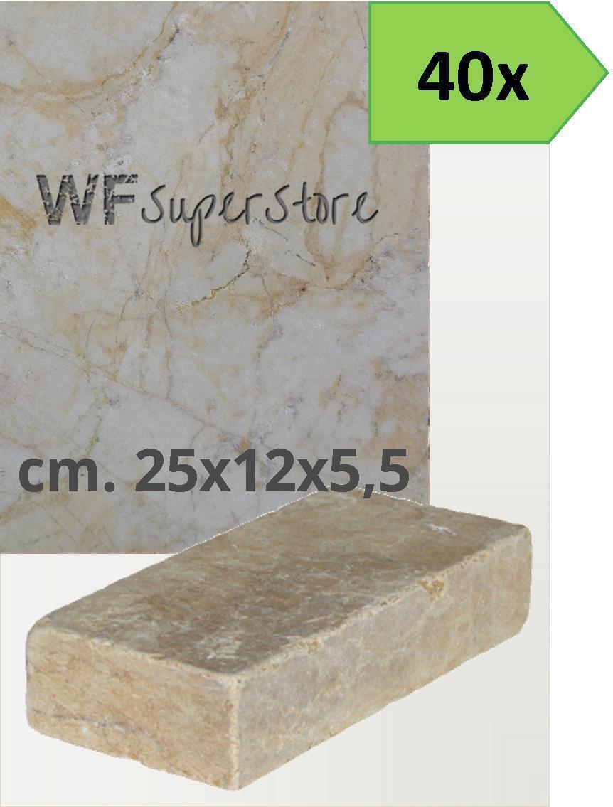 Mattoni marmo Giallo Reale 25x12x5,5 - 40 pz - muro cordolo aiuola giardino