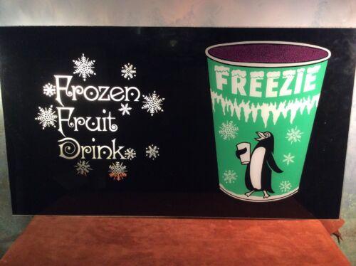 """Slushie Slurpee Vintage FREEZIE Frozen Drink Sign ~ Acrylic ~ 16"""" X 28"""" ~ Icee"""