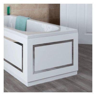 700mm White Horizontal Stripe End Bath Panel