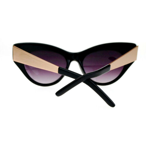 Womens Vintage Style Retro Metal Arm Thick Plastic Cat Eye Sunglasses