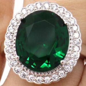 Large-6Ct-Green-Emerald-Moissanite-Halo-Ring-Women-Jewelry-Gift-Box-Size-6-7-8-9
