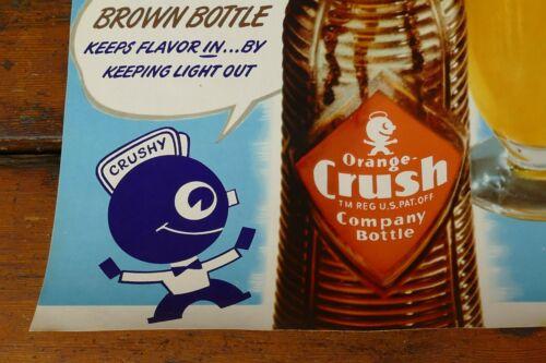 Vintage 1930's//1940's Original NOS Orange Crush Sherbet Soda Pop Poster Sign