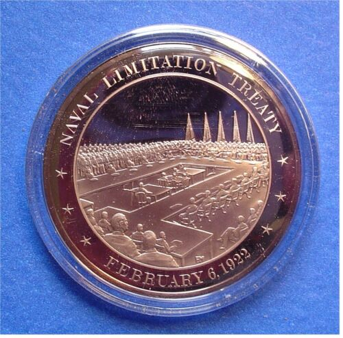 FIVE-POWER NAVAL Treaty 1922 Franklin Mint SOLID BRONZE Medal Uncirculated