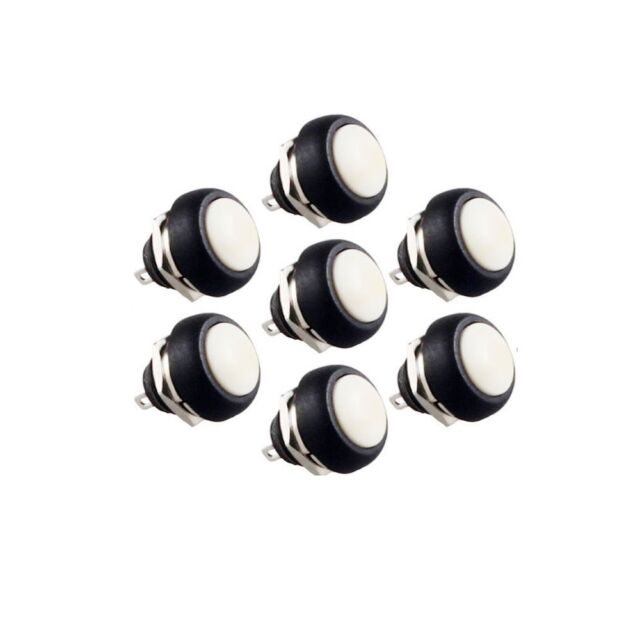 10PCS NEW White 12mm Waterproof momentary Push button Switch Mini Round Switch