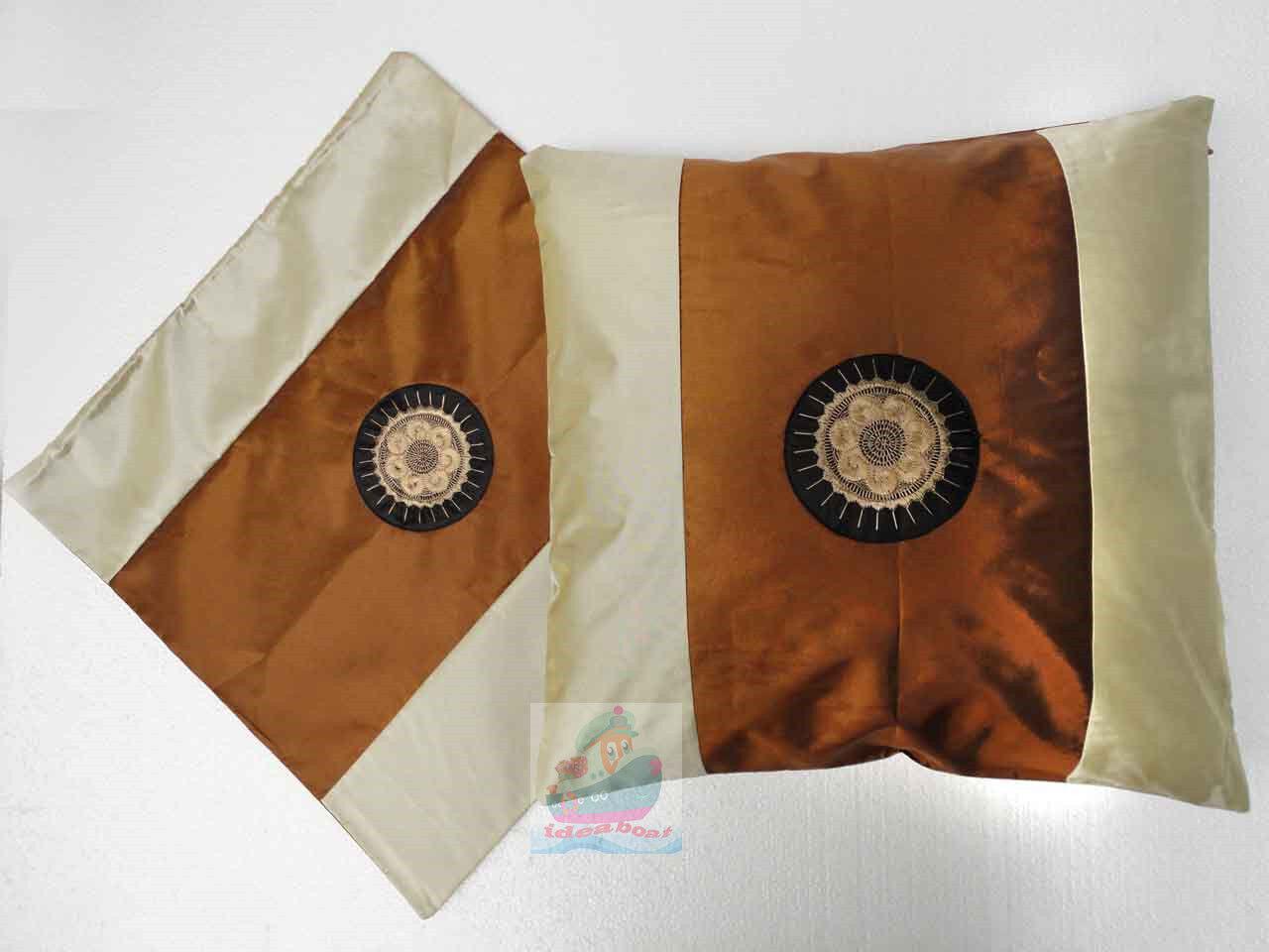 blue cream Satin Cushion Cover//Pillow Case Hmong Miao Nationality SUN design