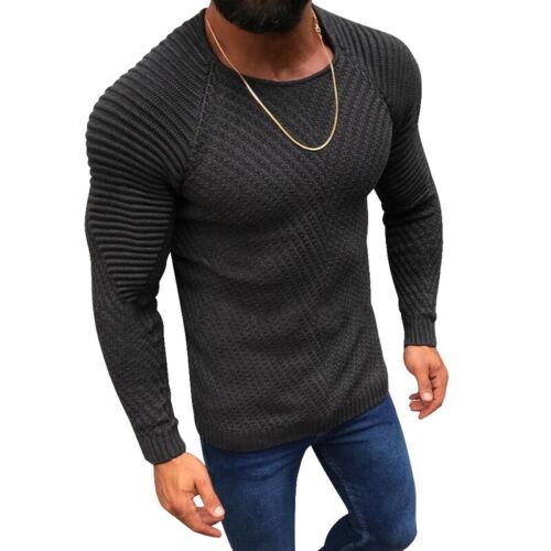 Herren Strickpullover Pullover Langarm Stricken Sweater Pulli Herren Warm Tops H