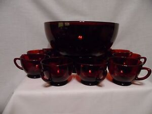 Vintage-Anchor-Hocking-Punch-Bowl-Set-Ruby-Red-With-10-Cups-amp-With-Bonus-Stand