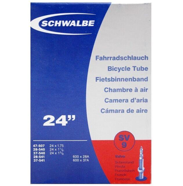 "SV 9 24/"" Schwalbe SV9 Presta Valve Tubes X 2"
