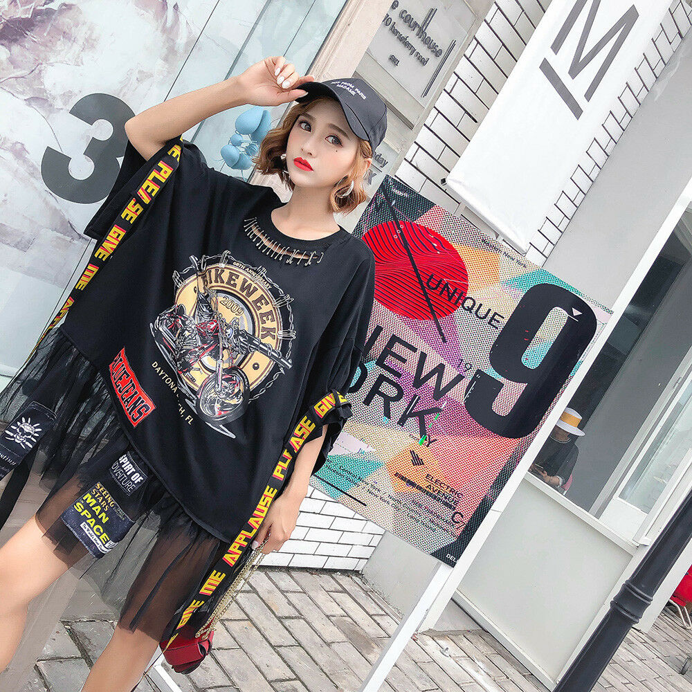 New Womens Harajuku BF Patch Patch Patch Print T-shirts Loose Dress Japanese Street Style Y1 1c1da4