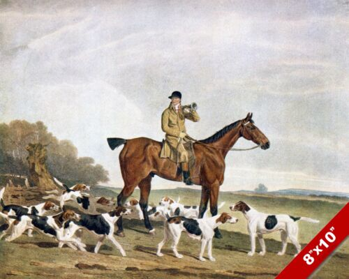 FOX HUNT BUGLE CALL HORSE EQUESTRIAN HUNTING ART PAINTING REAL CANVAS PRINT