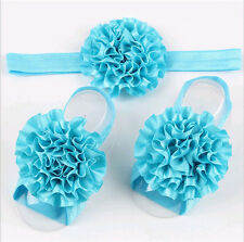 1set/3Pcs Baby Infant Headband Foot Flower Elastic Hair Band Accessories Blue