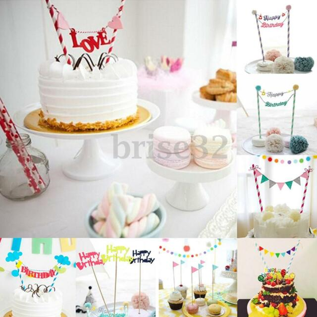 Bunting Topper Flag Party Decoration Happy Birthday Cake Topper