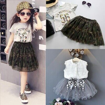 2pcs Toddler Kids Baby Girls T-shirt Tops+Tulle Tutu Skirt Dress Clothes Set