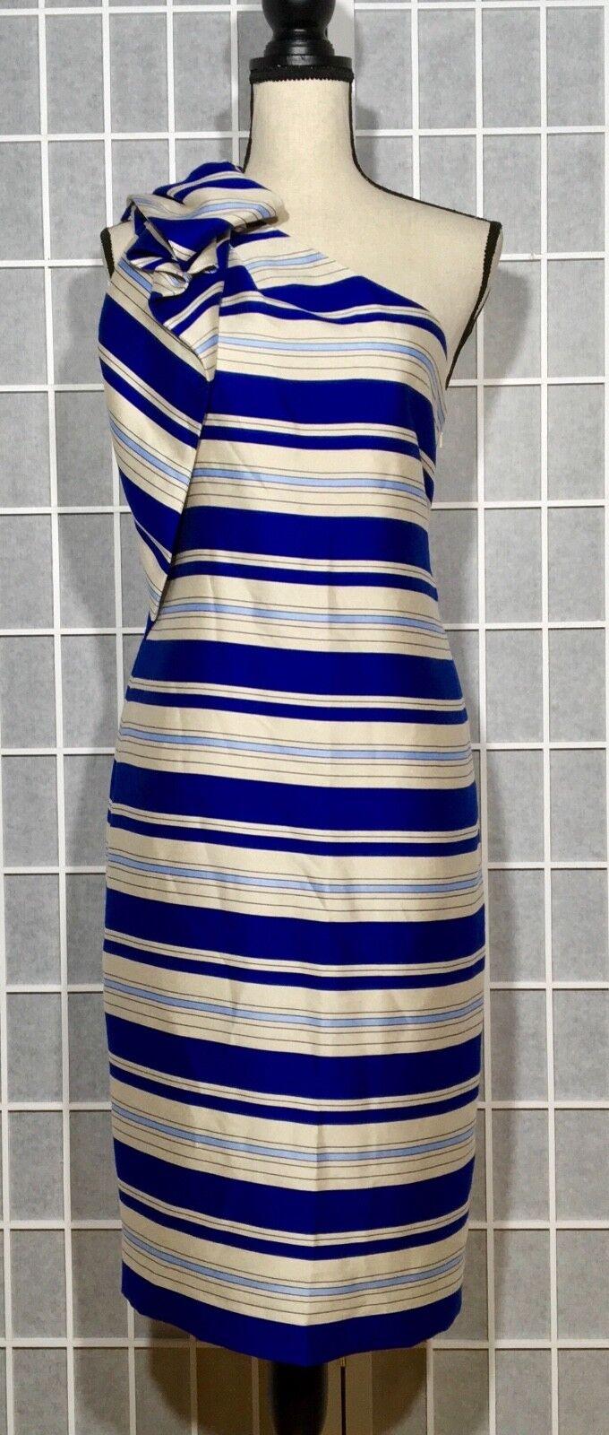 BANANA REPUBLIC WOMEN'S ONE SHOULDER DRESS NWT STRIPED SZ 6 blueE MULTI