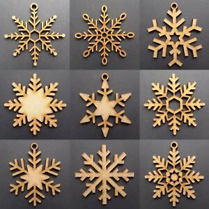 Wooden Christmas Snowflakes Tree Decorations Craft Hanging Bauble