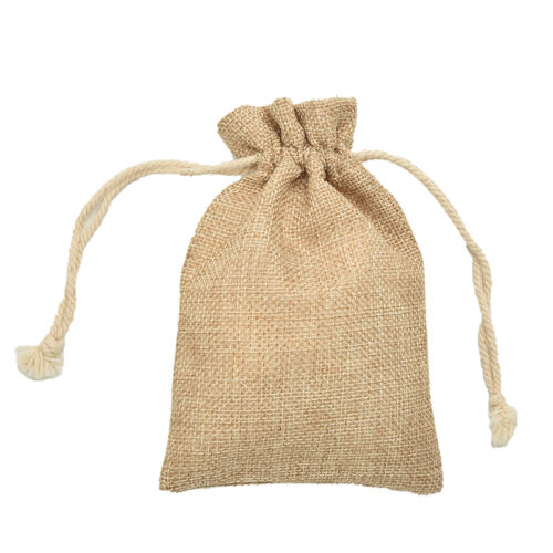 New Small Vintage Natural Burlap Hessian Bomboniere Bags Wedding Party FavorPTH