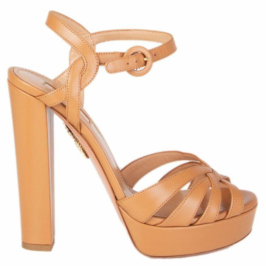 57570 auth AQUAZZURA brown leather Platform Ankle Strap Sandals shoes 37.5