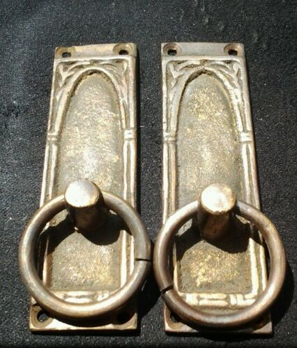"""2 vintage antique brass handles ring shaped and ornate 3-3//8/""""tall x 1/""""wide #H36"""