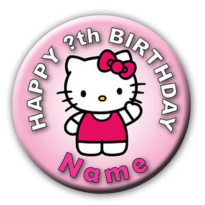 PERSONALISED-HELLO-KITTY-PINK-BIRTHDAY-BADGES-MAGNETS-MIRRORS-58MM-or-77MM