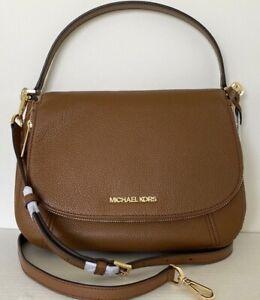 New-Michael-Kors-Bedford-Medium-Flap-Shoulder-Bag-Leather-Luggage