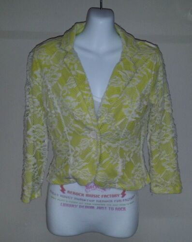 Eyeshadow Women/'s Crochet Lace Chartreuse And White Jacket