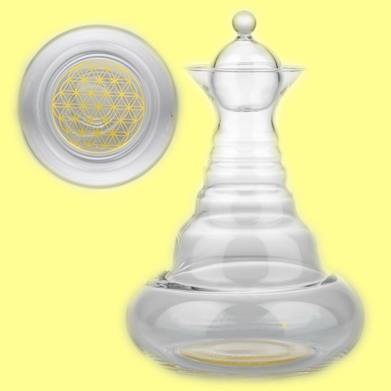 Karaffe Alladin Gold 1,3 L L L Glas Vitalkaraffe Blaume des Lebens am Boden in Gold 52abb0