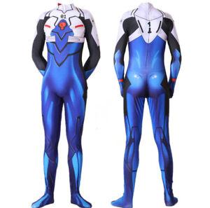 Leaffly Womens Cosplay Ikari Shinji Zentai Bodysuit Costume