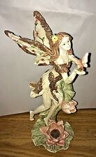 "12"" Faery Fairy Standing Holding Moving Butterfly Figurine Statue Wood Look"