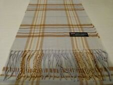 100% Cashmere Scarf Soft 72X12 Blue Brown Purple Scottish Wool Plaid K69 Women