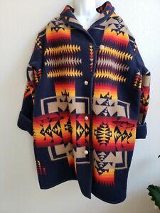 VTG-Pendelton-Native-American-Indian-Blanket-Long-Jacket-Coat-w-Coin-Buttons