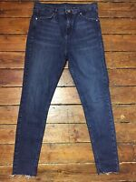 Topshop Moto Skinny Jeans Jamie Blue  Size 14 W32 Fit L34 Raw Hem Defects Bx59