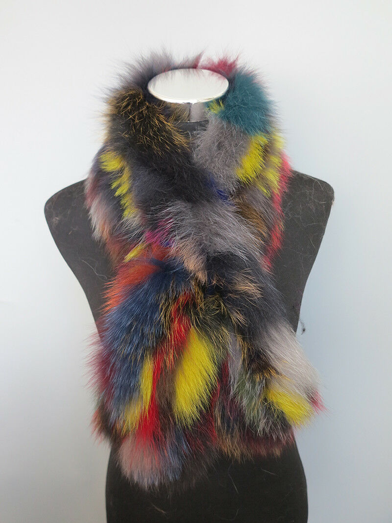 Braid 100% real fox fur cape /fur scarf /collar /wrap/s