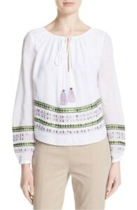 NWT-Tory-Burch-039-Madeline-039-Embroidered-Cotton-Top-6-White