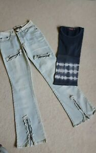 Schlaghose Jeans destroyed neuwertig S Vintage original 90ger - Sinsheim, Deutschland - Schlaghose Jeans destroyed neuwertig S Vintage original 90ger - Sinsheim, Deutschland