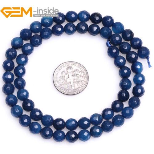 "Azul Oscuro Ágata Facetado Redondo Cuentas Sueltas para la fabricación de joyas Strand 15/"" Reino Unido"