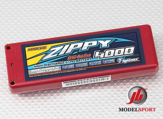 Zippy Lipo RC Car 2 2 2 Cell Battery Hardcase 2S 7.4v 4000mAh 25C ROAR APPROVED 848865